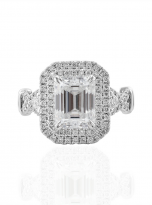3ct Art Deco Double halo Engagement ring (1)