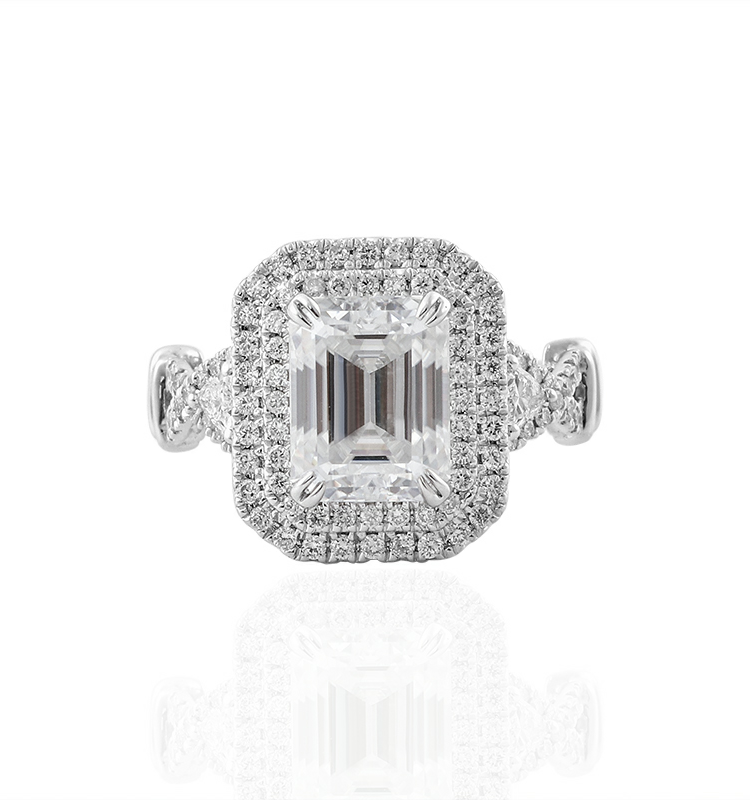 3ct Art Deco Double halo Engagement ring
