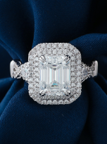 3ct Art Deco Double halo Engagement ring (8)