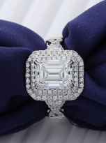 3ct Art Deco Double halo Engagement ring (9)