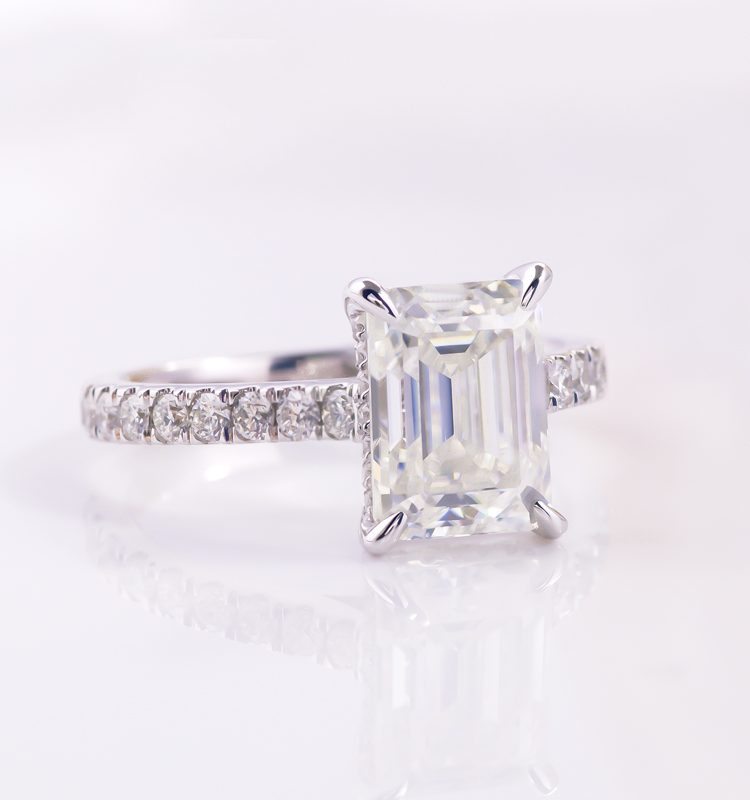3ct Emerald Moissanite with Side Stones Engagement Ring