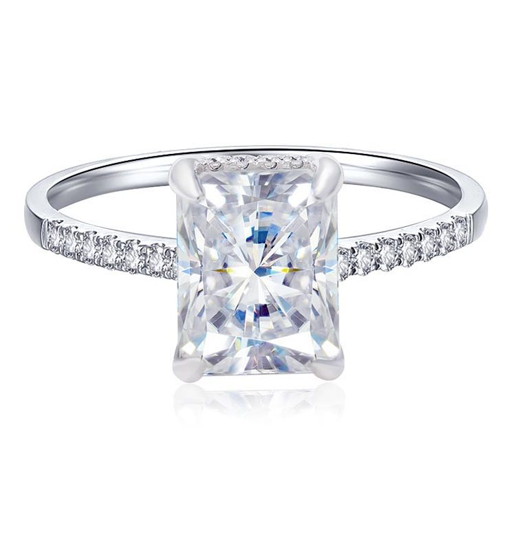 3ct Octangle Moissanite with Side Stones Engagement Ring