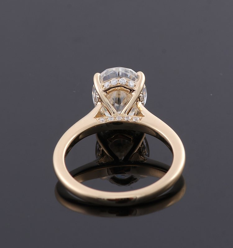3ct Oval Moissanite Hidden Halo Engagement Ring