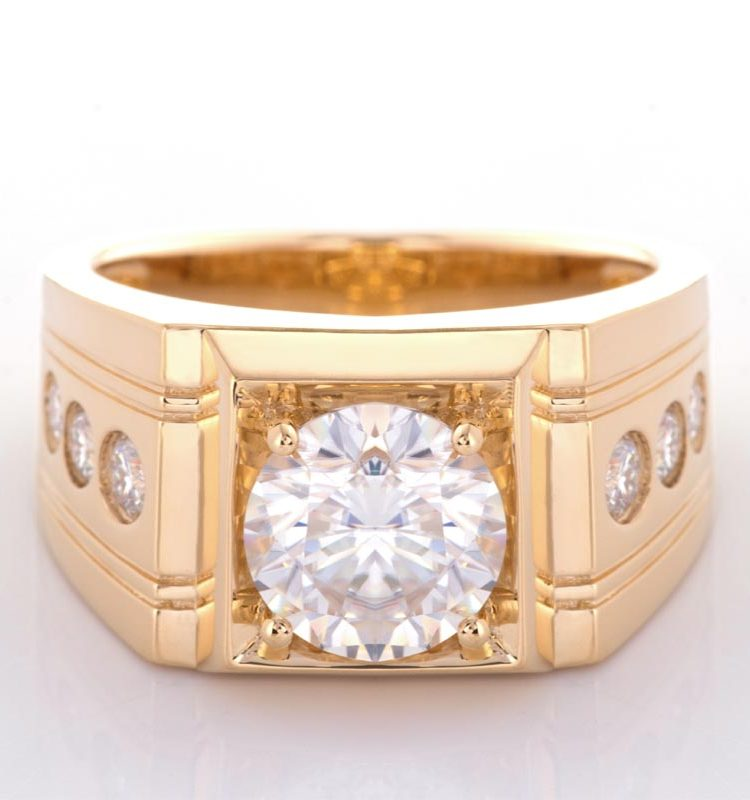 3ct Round Moissanite Solitaire with Accent Stones Men's Ring