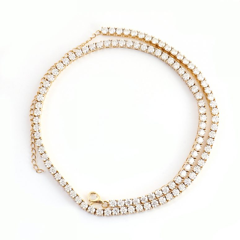 3mm Classic Tennis 14 inch Chain Necklace with 3 inch Extend Chain