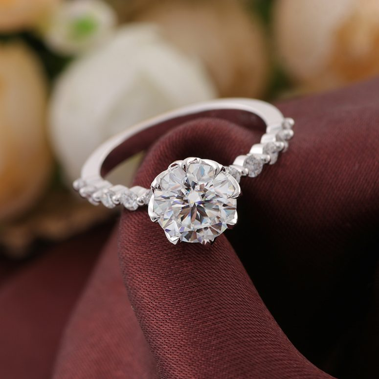 8-Prong Tulip Cathedral Round Moissanite Engagement Ring