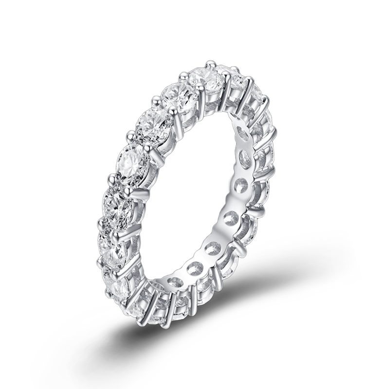 All-Around Band Ring set with 3.5mm Round Moissanite