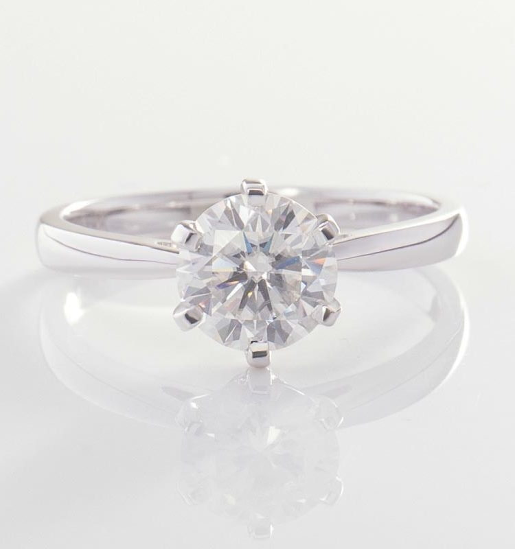 Classic Solitaire Moissanite Engagement Ring 0.5ct
