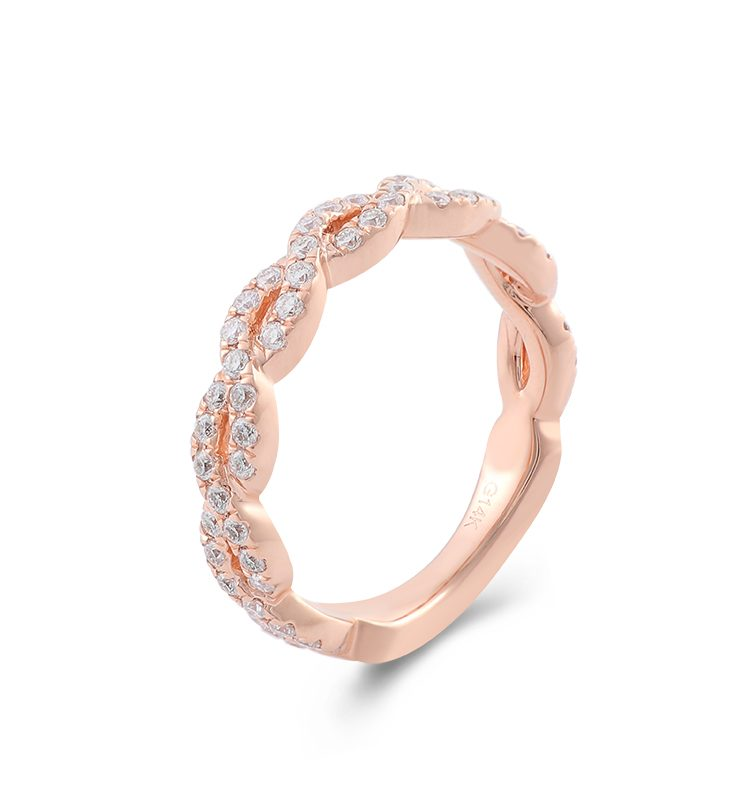 Colorless Moissanite Twisted Rope Eternity Band