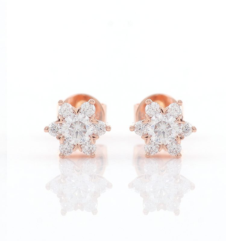 Colorless Round Brilliant Cut Halo Stud Earrings