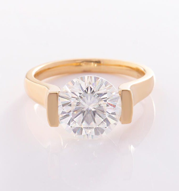 Extended Shank 3ct Moissanite Solitaire Engagement Ring