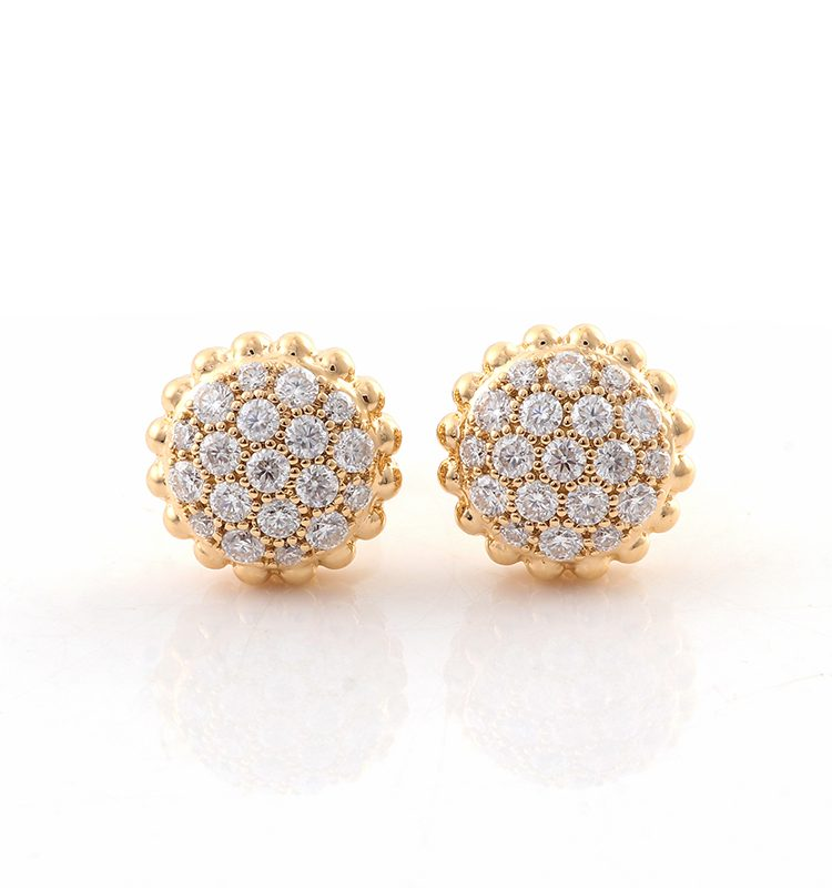 Round Moissanite Pave Disc Stud Earrings