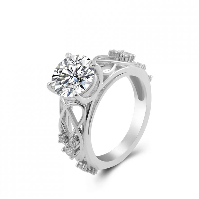 Vintage Moissanite Engagement Ring with 2ct