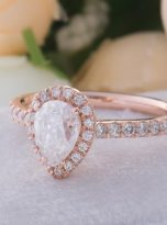 0.85ct Colorless Pear Moissanite Halo Engagement Ring (10)