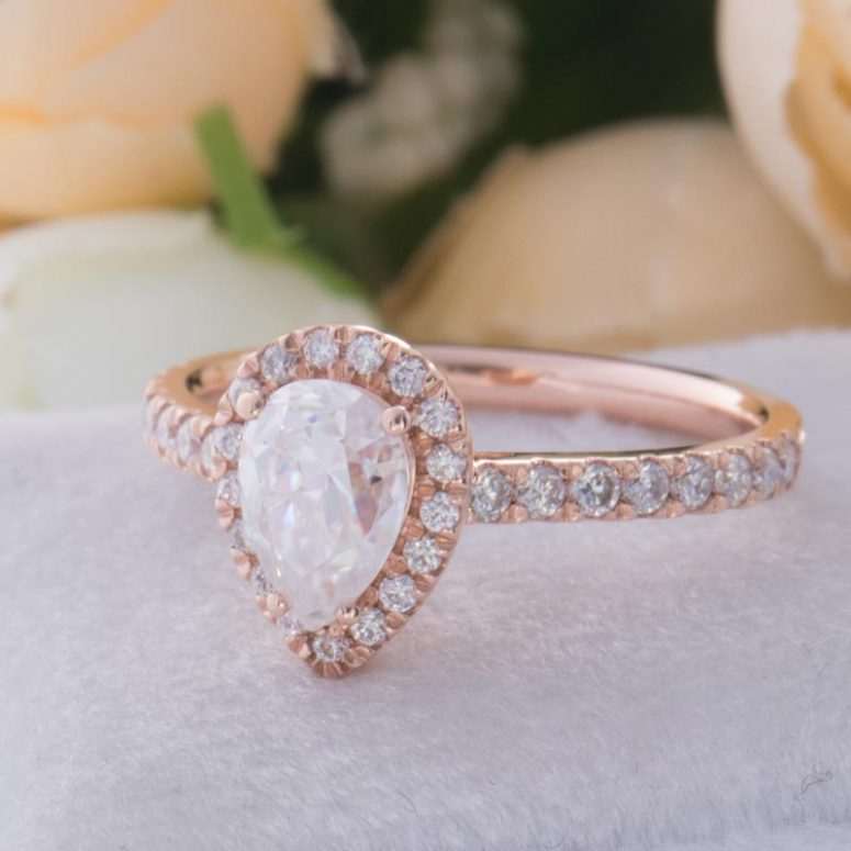 0.85ct Colorless Pear Moissanite Halo Engagement Ring