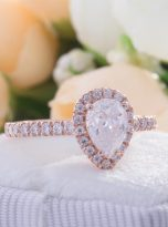 0.85ct Colorless Pear Moissanite Halo Engagement Ring (3)
