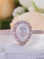 0.85ct Colorless Pear Moissanite Halo Engagement Ring (5)