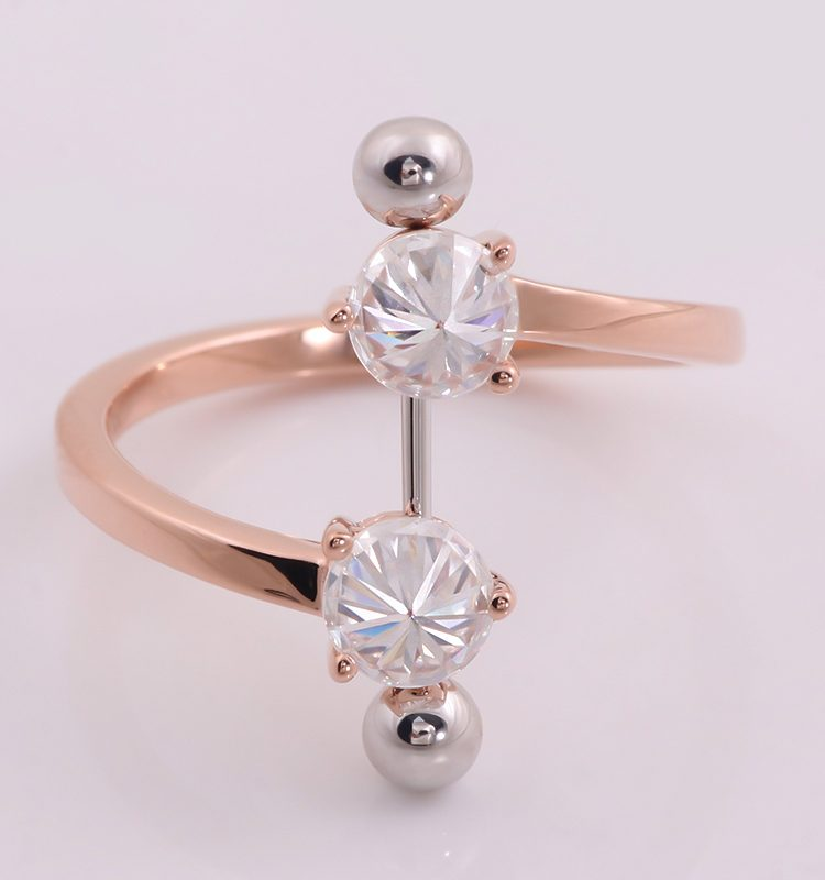 1.0CTW Openning Ring with Sliver Fixed Bar