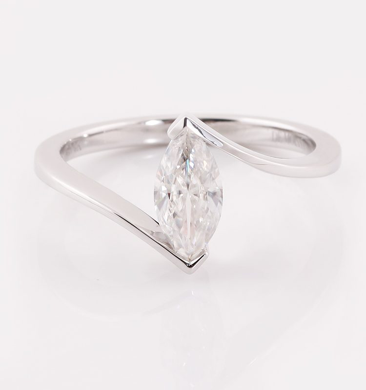 1.0ct Colorless Marquise Moissanite Ring