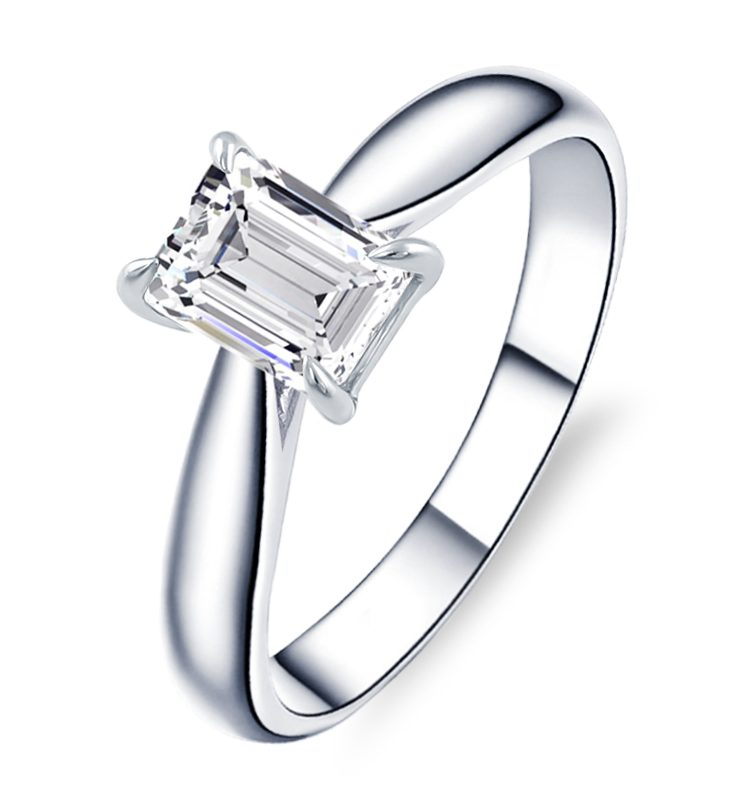 1.1ct Octangle Moissanite Classic Solitaire Engagement Ring