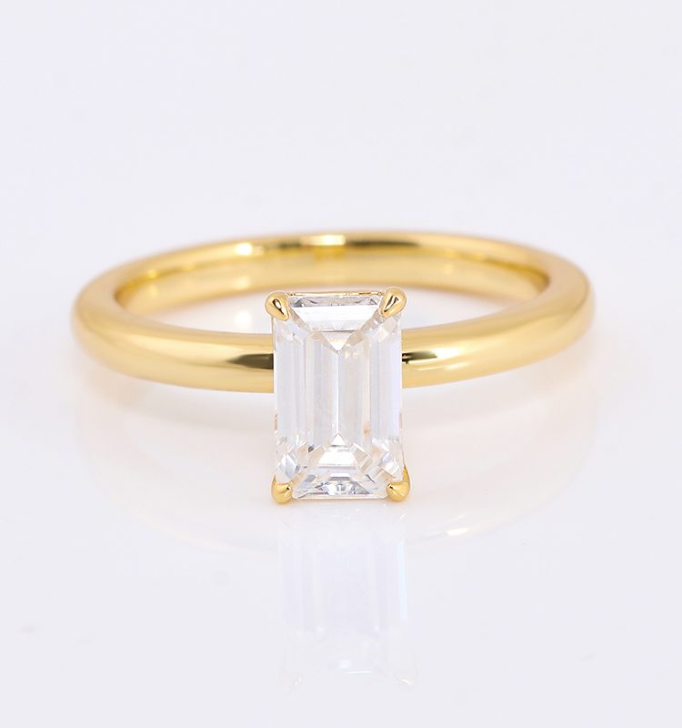 1.5ct Emerald Cut Moissanite Solitaire Ring