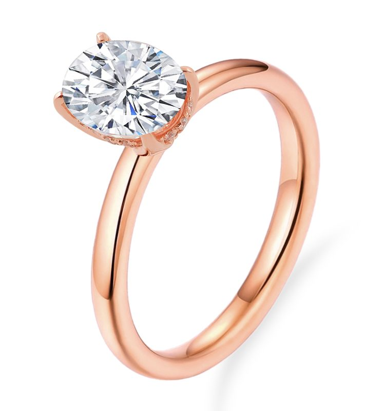 1.5ct Oval Colorless Moissnaite Solitaire Ring with Hidden Halo