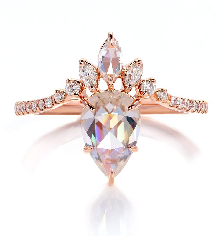 1.5ct Rose Cut Pear Moissanite with Accent Stones Ring