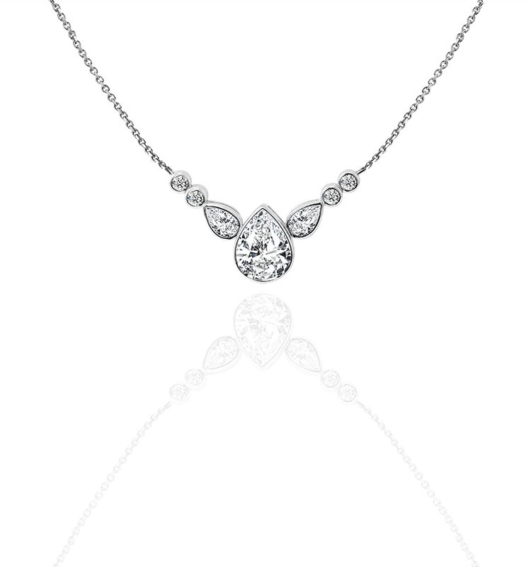 1ct Pear Moissanite with Side Stones Pendant Necklace