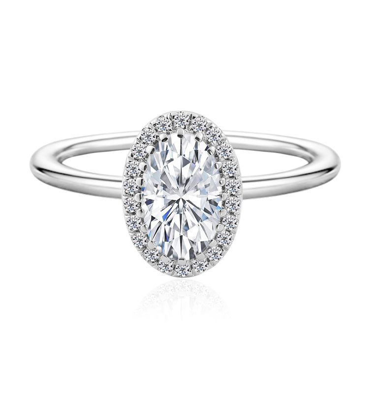 2.0ct Brilliant Cut Oval Moissanite Halo Engagement Ring