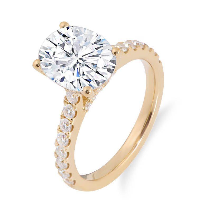 2.0ct Oval Brilliant Cut Moissanite Solitaire Ring