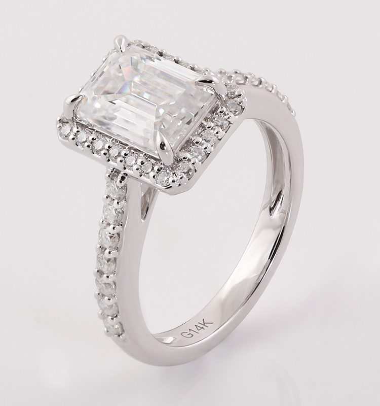 2.5ct Rectangle Moissanite Classic Halo Pave Engagement Ring