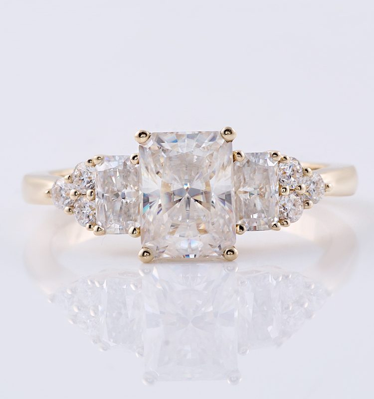 2.5ct Rectangle Moissanite Engagement Ring with Side Stones