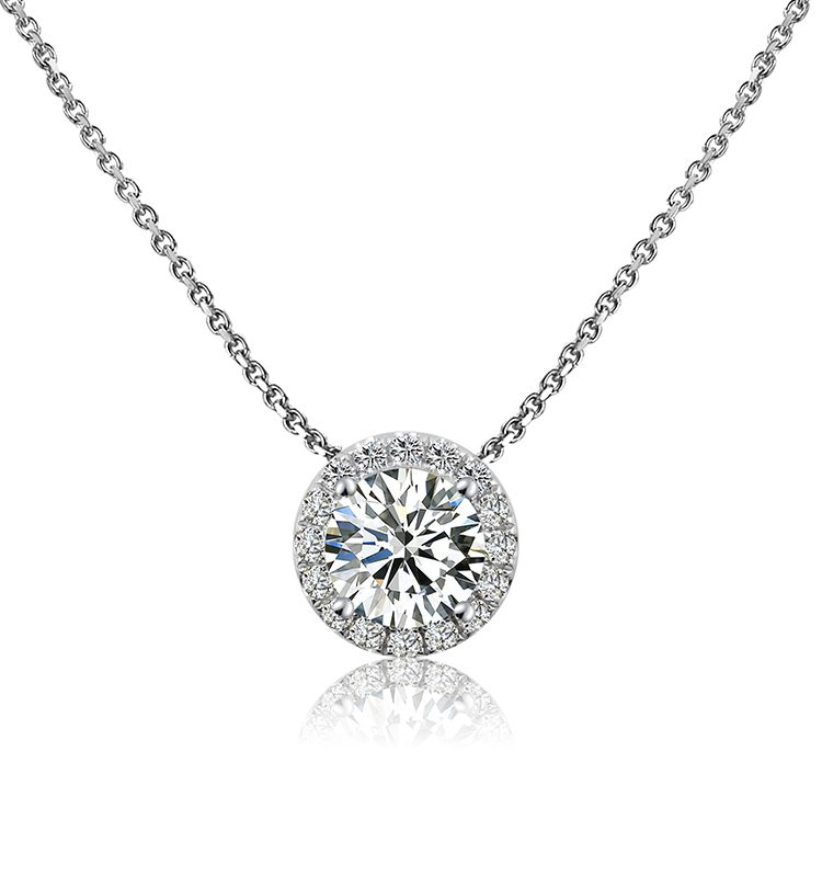 2ct Classic Solitaire with Halo Moissanite Pendant Necklace