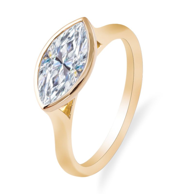 2ct Marquise Moissnaite Solitaire Engagement Ring