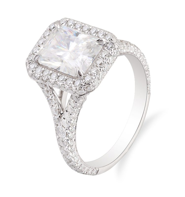 3.0ct Colorless Radiant Cathedral Setting Ring