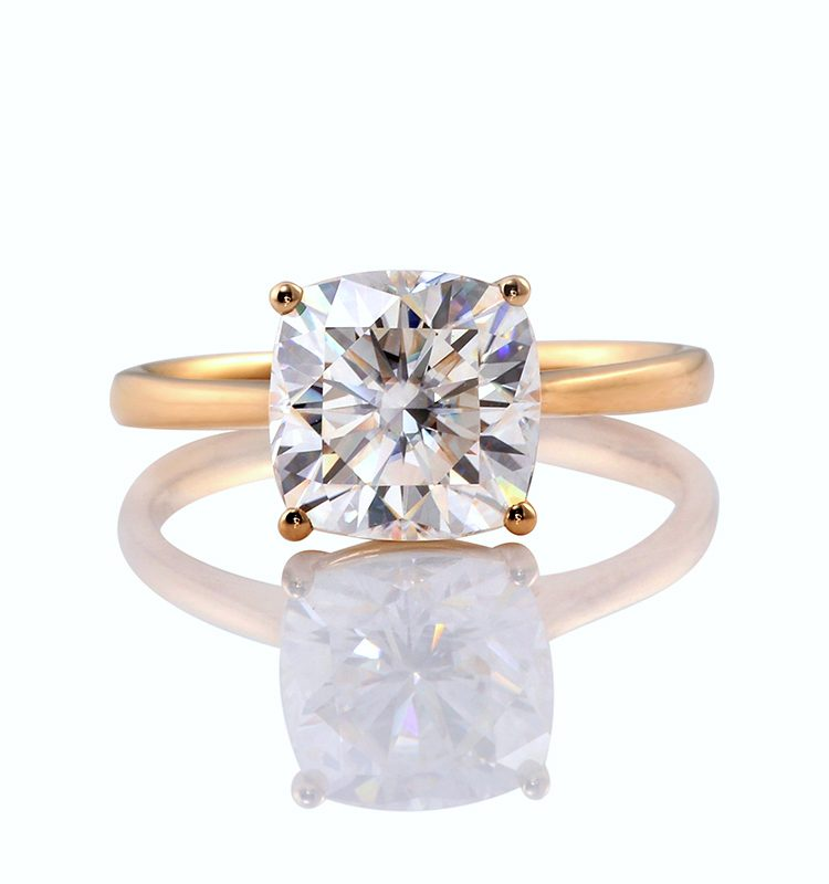 3.5ct Classic Solitaire Colorless Cushion Moissanite Ring