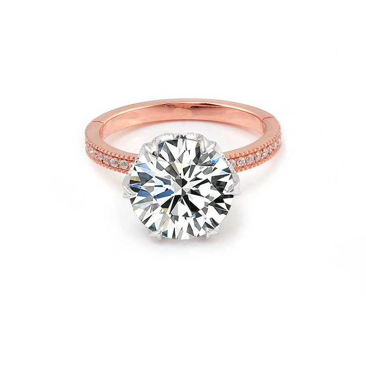 3.5ct Hearts & Arrows Moissanite Solitaire With Side Accents Engagement Ring