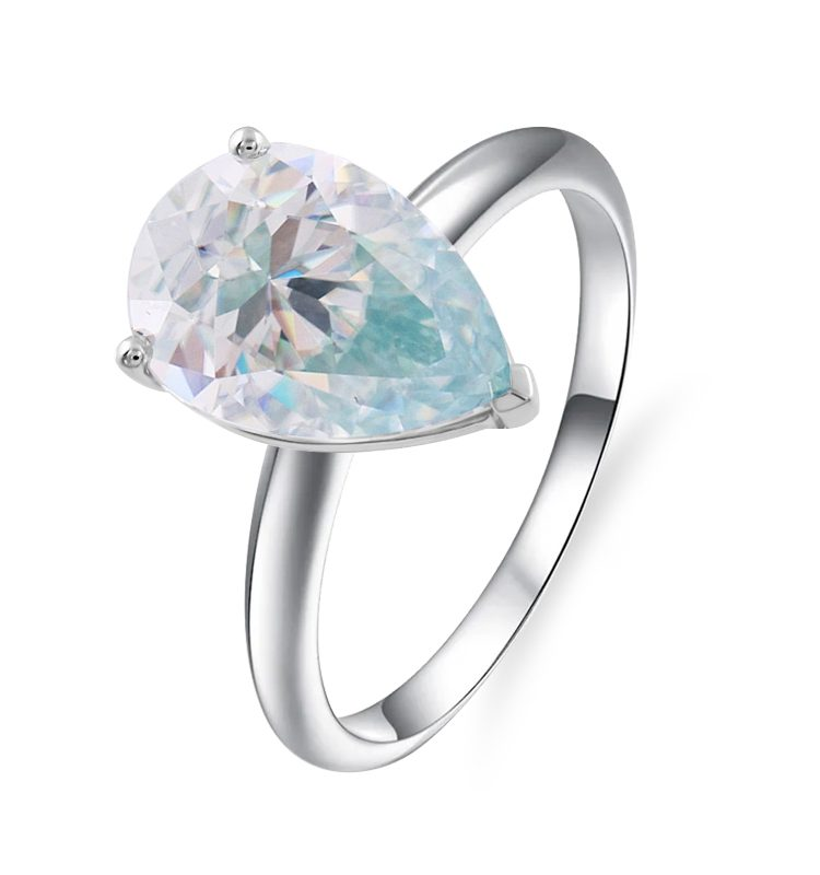 4.0ct Light Blue Pear Moissanite Solitaire Charming Ring