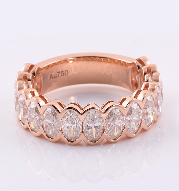 4.5CTW Oval Moissanite Wedding Ring Band