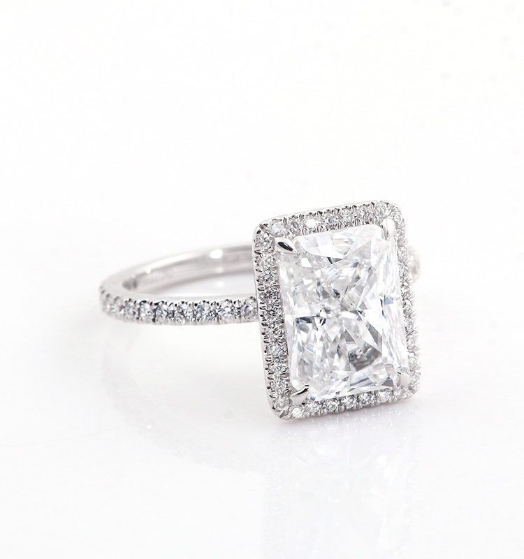 4ct Elongated Cushion Moissanite Halo with Accent Stones Engagement Ring