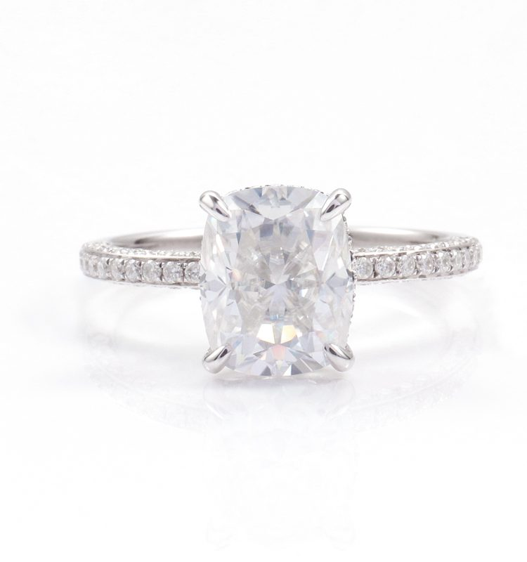 5ct Elongated Cushion Moissanite with Side Accent Band Ring