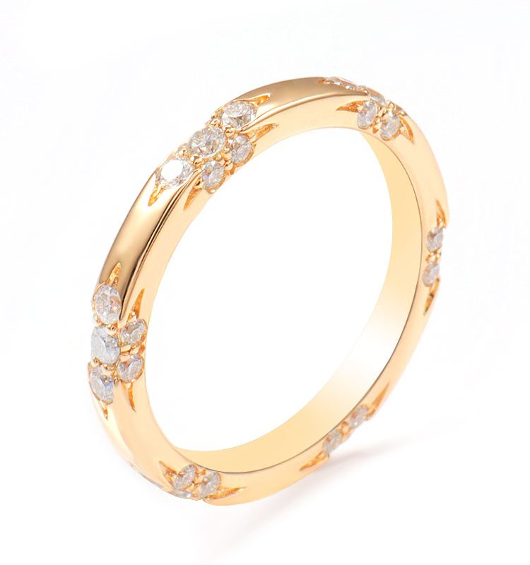 Classic Moissanite Round Ring Band in 14K Gold