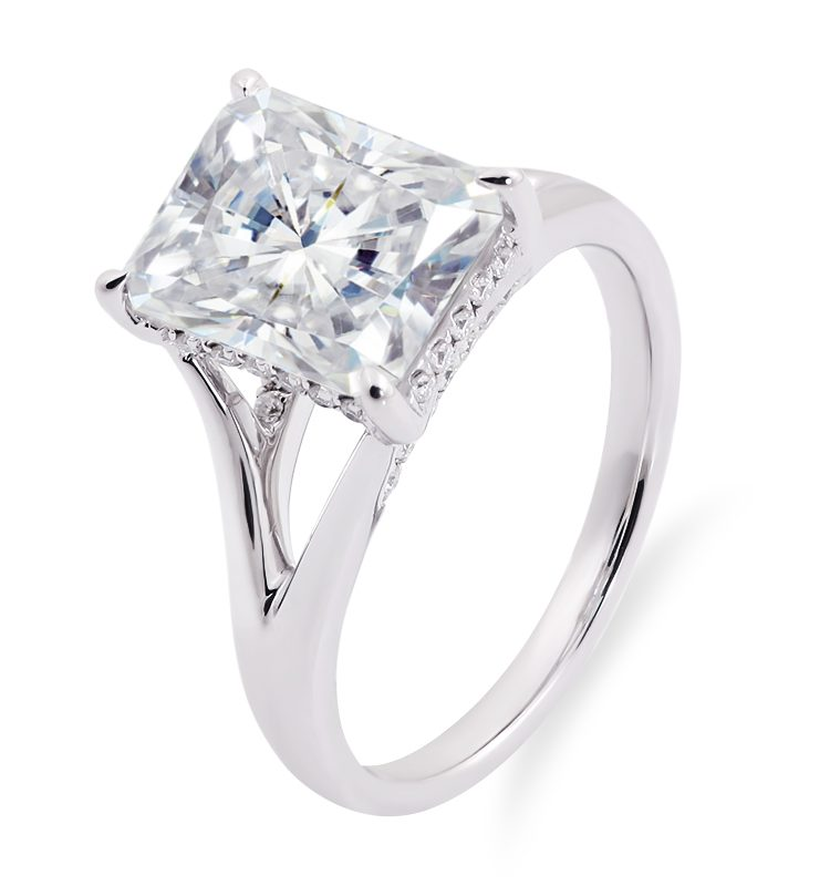 Colorless 4.0ct Radiant Moissanite with Hidden Halo Ring