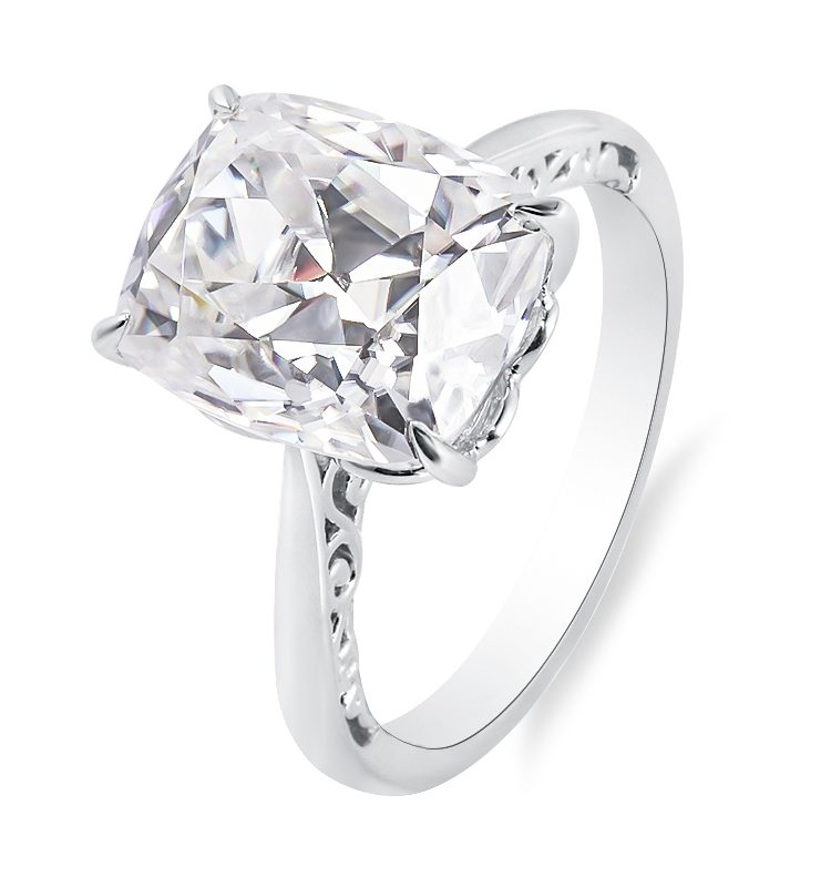OEC Enlongated Cushion Solitaire Moissanite Ring 4.0ct