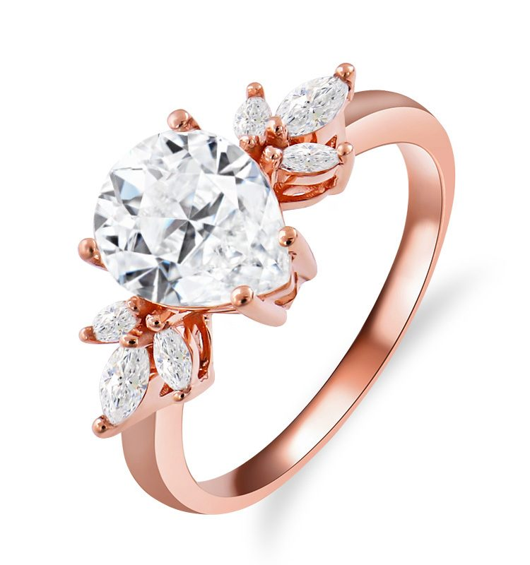 Pear Colorless Moissanite Engagement Ring with Marquise Accent Stones