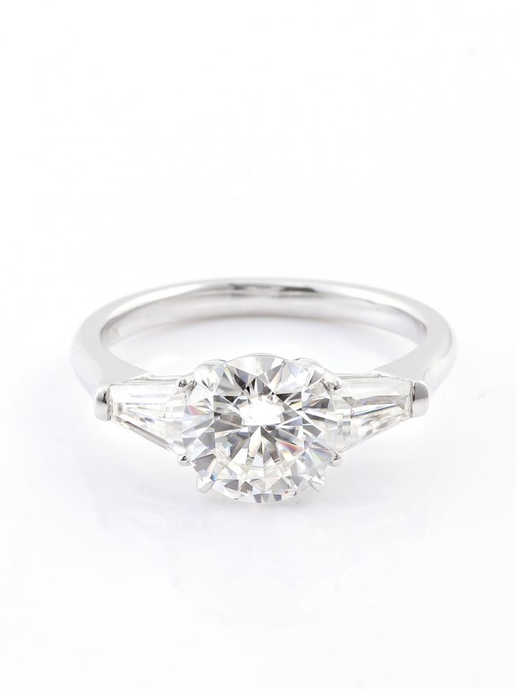 1.2ct Round Moissanite with Tapered Baguette Side Stone Engagement Ring