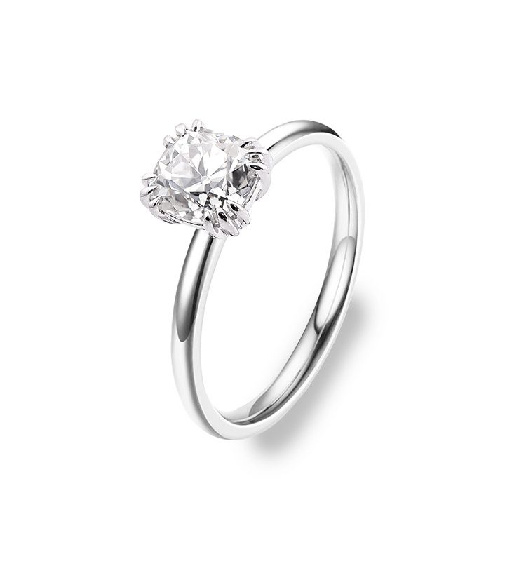 1.5ct OEC Cushion Moissanite Triple Claws Solitaire Ring