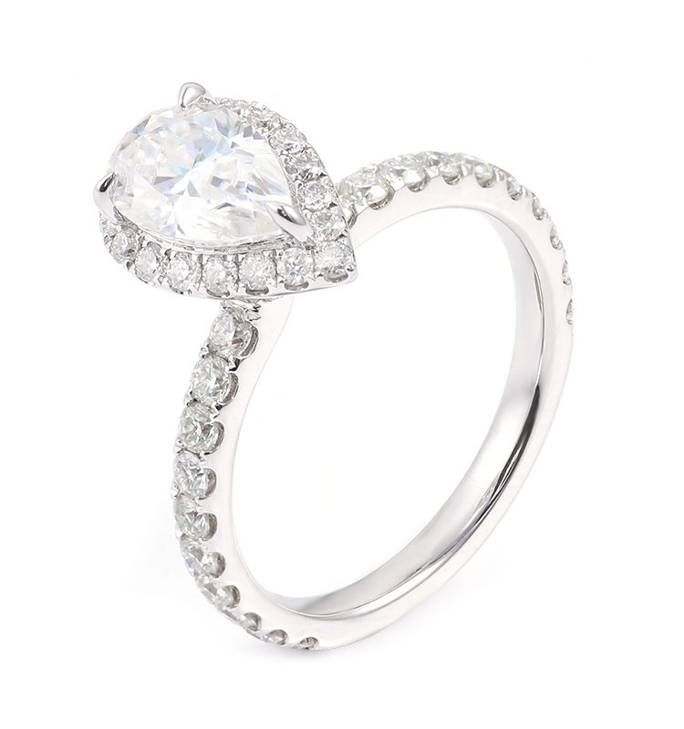 1.5ct Pear Moissanite with Halo Pave-Setting Band Engagement Ring