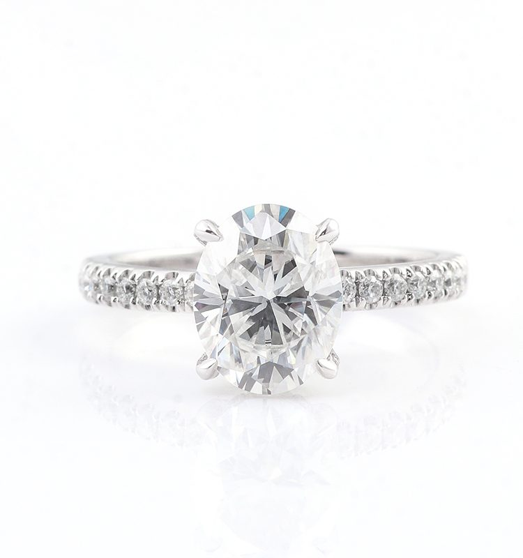 2ct Brilliant Cut Oval Shape Pave Band Engagement Ring