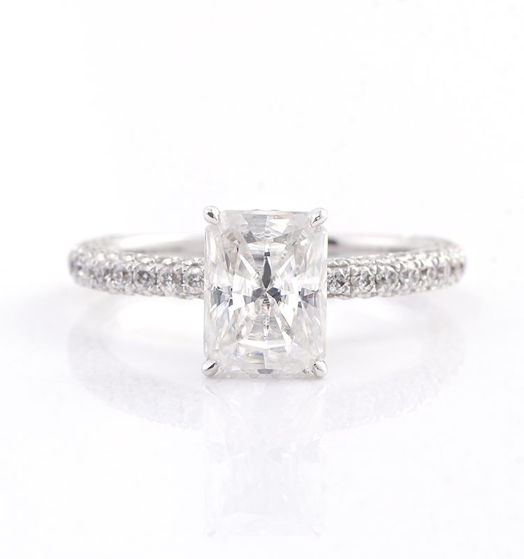 2ct Radiant Cut Luxury Pave Moissanite Engagement Ring